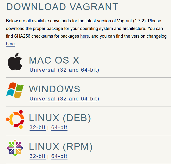 Vagrant download page